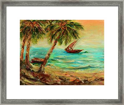 Sail Boats On Indian Ocean  Framed Print by Sher Nasser