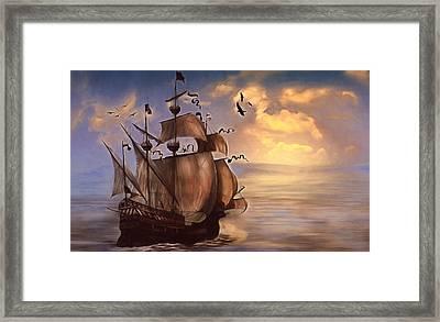 Sail Into My Dreams Vintage Framed Print by Georgiana Romanovna