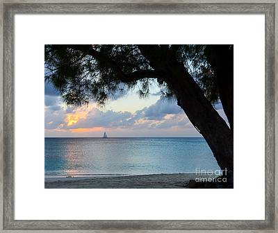 Sail Into The Sunset Framed Print by Karen English