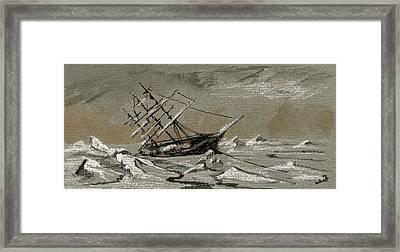 Sail Ship Arctic Framed Print by Juan  Bosco