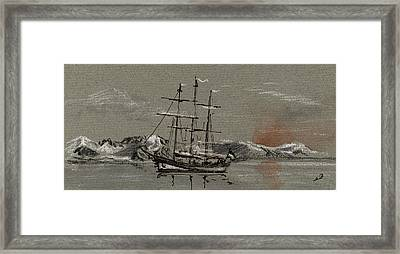 Sail Ship At The Arctic Framed Print