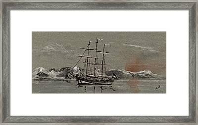 Sail Ship At The Arctic Framed Print by Juan  Bosco