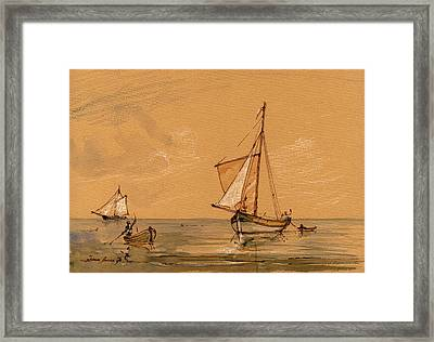 Sail Ship Framed Print by Juan  Bosco
