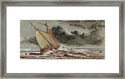 Sail Ship Stormy Sea Framed Print by Juan  Bosco
