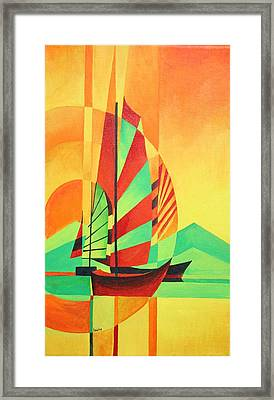 Framed Print featuring the painting Sail To Shore by Tracey Harrington-Simpson
