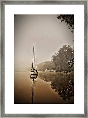 Sailbaot In The Fog Framed Print