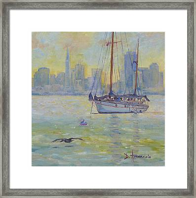Sailboat Anchored At Sunset Framed Print by Dominique Amendola