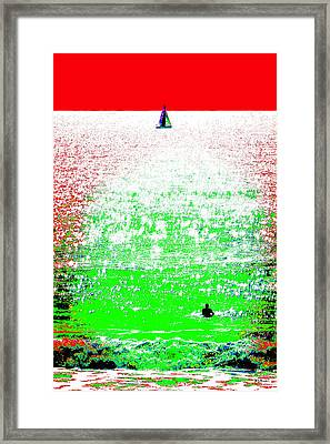 Sailboat And Swimmer -- 2a Framed Print by Brian D Meredith