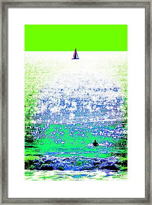 Sailboat And Swimmer -- 2b Framed Print by Brian D Meredith