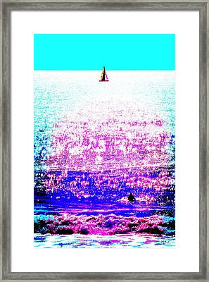 Sailboat And Swimmer -- 2d Framed Print by Brian D Meredith