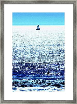Sailboat And Swimmer Framed Print by Brian D Meredith