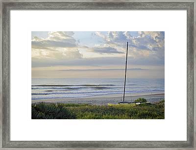 Sailboat At Dawn Framed Print