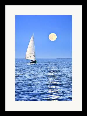 Blue Sailboats Framed Prints