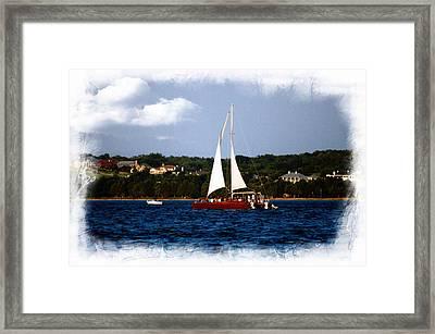 Sailboat At Lake Ray Hubbard Framed Print