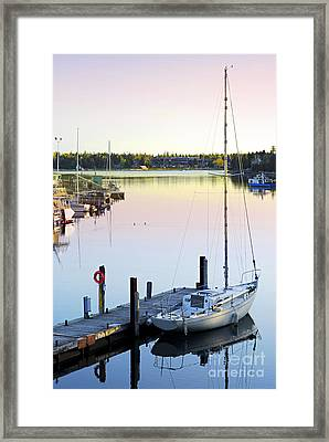 Sailboat At Sunrise Framed Print
