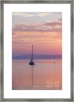 Sailboat At Sunrise In Casco Bay Maine Framed Print