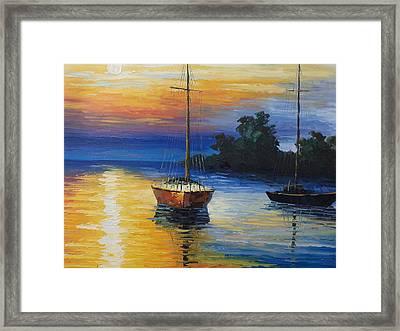Sailboat At Sunset Framed Print