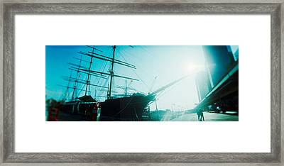 Sailboat At The Port, South Street Framed Print by Panoramic Images