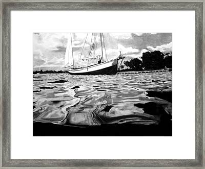 Sailboat By Shore Framed Print by Jason Dunning