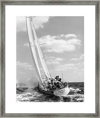 Sailboat Charging The Waves Framed Print