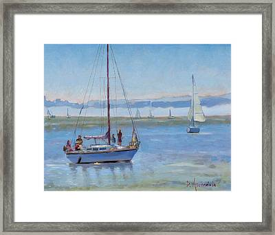 Sailboat Coming To Port Framed Print by Dominique Amendola
