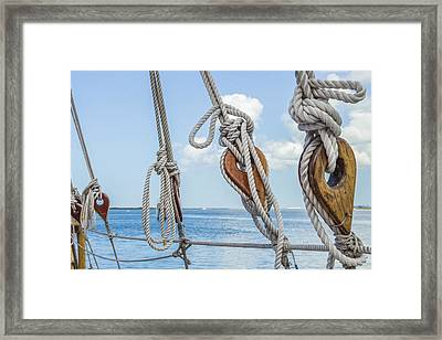Framed Print featuring the photograph Sailboat Deadeyes 2 by Leigh Anne Meeks