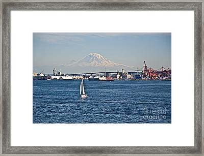 Sailboat Foreground Mt Rainier Washington Landscape Framed Print