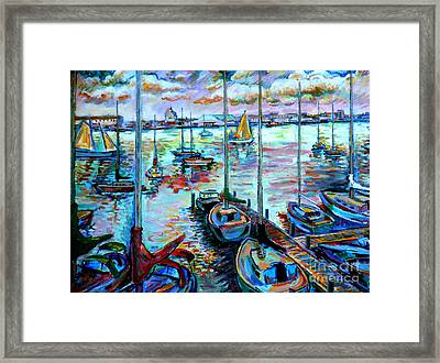 Sailboat Harbor Framed Print by Stan Esson