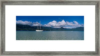 Sailboat In A Bay, Kaneohe Bay, Oahu Framed Print