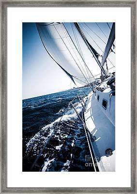 Sailboat In Action Framed Print