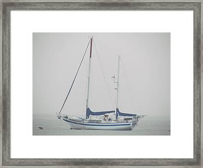 Sailboat In Fog Framed Print