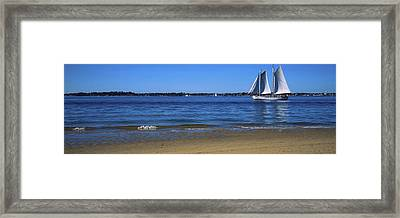 Sailboat In Ocean, Provincetown, Cape Framed Print by Panoramic Images