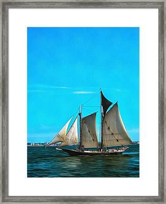 Sailboat In The Bay Framed Print