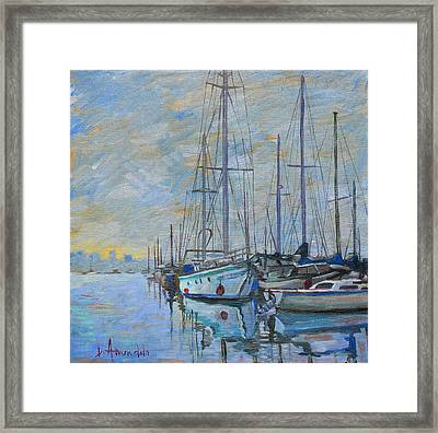 Sailboat In The Evening Fog Framed Print by Dominique Amendola