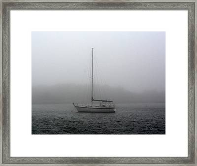 Sailboat In The Fog Framed Print