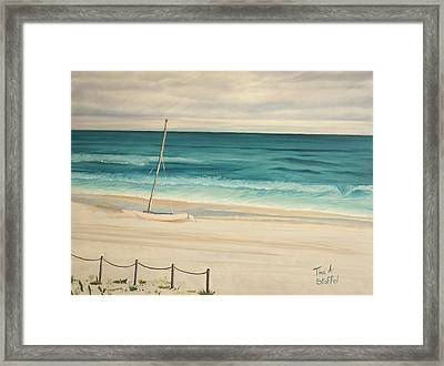 Sailboat In The Ocean Breeze Framed Print by Tina Stoffel