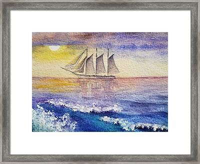 Sailboat In The Ocean Framed Print by Irina Sztukowski