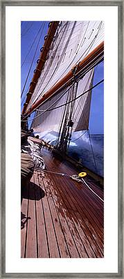 Sailboat In The Sea, Antigua, Antigua Framed Print