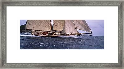 Sailboat In The Sea, Schooner, Antigua Framed Print