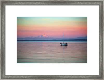 Sailboat In The Sunset. Framed Print