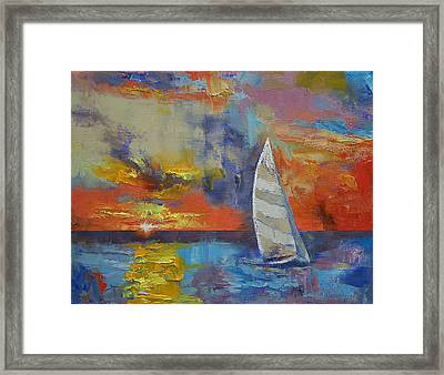Sailboat Framed Print by Michael Creese