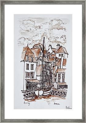Sailboat Moored In Saint-goustan Port Framed Print