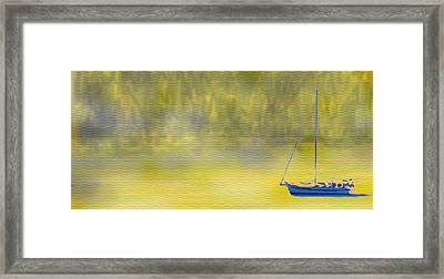 Sailboat On A Yellow Sea Framed Print by Ian  MacDonald