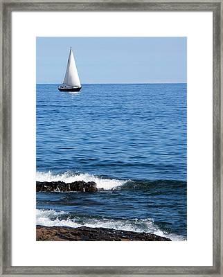 Sailboat On Superior Framed Print by Bridget Johnson