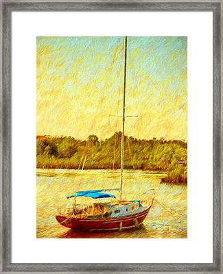 Boating - Coastal - Sailboat On The Bayou  Framed Print by Barry Jones