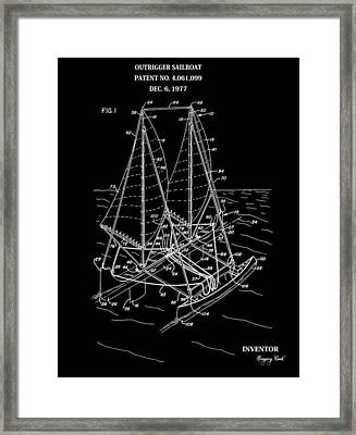 Sailboat Patent Black And White Framed Print