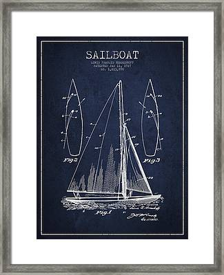 Sailboat Patent Drawing From 1927 Framed Print by Aged Pixel