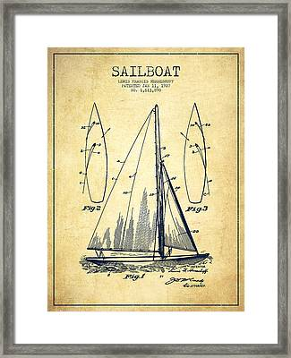 Sailboat Patent Drawing From 1927 - Vintage Framed Print by Aged Pixel
