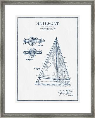 Sailboat Patent Drawing From 1938  -  Blue Ink Framed Print by Aged Pixel