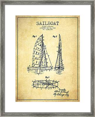 Sailboat Patent Drawing From 1938 - Vintage Framed Print